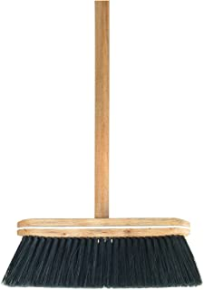 Superio Kitchen Broom Premium Black Tampico Bristles, Wood USA Handle, Heavy Duty Household Broom - Easy Swiping Dust and Wisp, Home, Kitchen Bedroom, Lobby, Floors and Corners