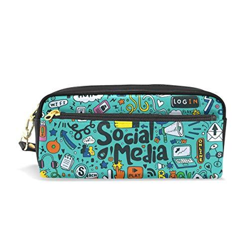 Muziek Social Media Pencil Case Box met compartimenten zak Rits voor Kids Meisjes Jongens Cosmetische Make-up Bag Leer