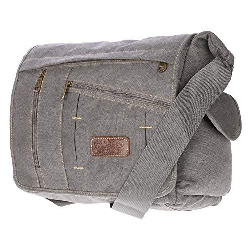 Christian Wippermann große XL Herren Damen Tasche Umhängetasche Canvas Messenger Bag Grau