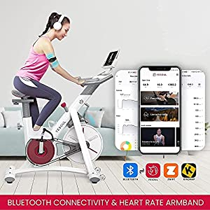 YESOUL Smart Connect Exercise Spin Bike Stationary with Bluetooth Armband, Magnetic Resistance Belt Drive Commercial Indoor Cycling Bike with Heart Rate Monitor App, Tablet Holder (White)