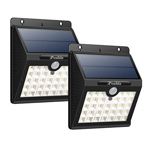 iPosible Solarleuchten für Außen, [2 Stück] 33 LED Solarleuchte Gartenbeleuchtung Solarlampe mit bewegungsmelder 3 Modi, Solar Betriebene Außenleuchte wasserdichte Wandleuchte Licht für Garten