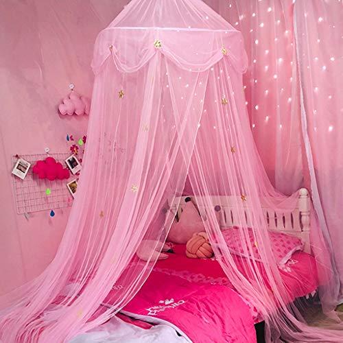 LIN HE SHOP Garn Moskitonetz Baldachin Kuppel Prince & Princess Star Spielzelt & Spielhaus für Jungen, Mädchen - Töchter und Enkelinnen, einfach zusammenklappbare Aufbewahrung (Farbe : Rosa)