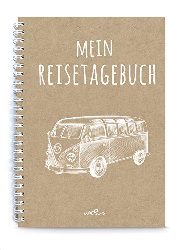 Mein Reisetagebuch, Bus Van, braun weiß echtes Kraftpapier, DIY Reisebuch Tagebuch, zum selberschreiben, DIN A5, liniert, Ringbuch, Retro Vintage, für eine Weltreise, alle Länder