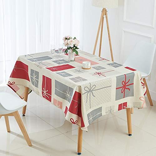 XXDD Mantel navideño Animal Alce Campanas muñeco de Nieve árbol Mantel Impreso Restaurante exótico Estilo rústico decoración A8 135x180cm