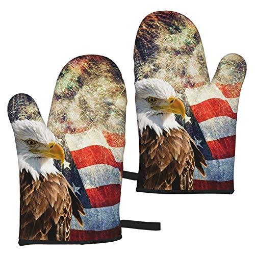 Ye Hua Bald Eagle American Flag Guantes de Horno de Cocina Antideslizantes Profesionales Resistentes al Calor para Asar a la Parrilla, cocinar, con Bucle para Colgar, fácil de Limpiar