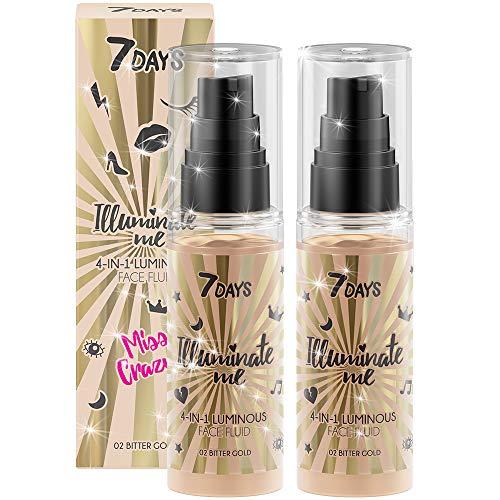 BB-Cream 4-in-1 beleuchtendes Fluid 2 Stk. mattierende Gesichtsfeuchtigkeitscreme Vitamin E fettige zu Akne neigende Haut Haut 2x50ml   7DAYS