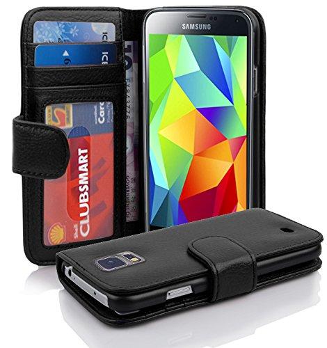 Cadorabo Hülle kompatibel mit Samsung Galaxy S5 / S5 NEO Hülle in Oxid SCHWARZ Handyhülle mit 3 Kartenfächern