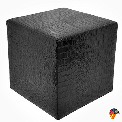 Arketicom Sitzwürfel Schwarz Kunstleder Wasserabweisenden Wirkung Krokodil Maß 45x45x45 cm