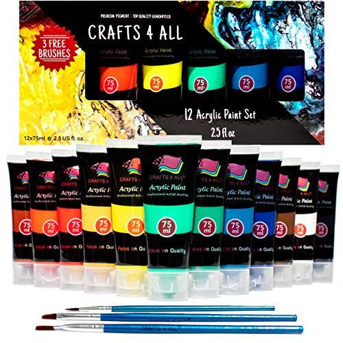 Crafts 4 ALL Set de Pintura Acrilica 12 Colores Premium para