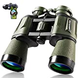 10x50 Hunting Binoculars for Adults 28mm Large Eyepiece HD Professional Bird Watching Binoculars for Hiking Sightseeing Travel Sports Concert with BAK4 Prism FMC Lens, Army Green