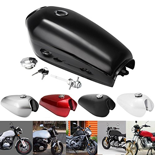 Hitommy Motorcycle Cafe Racer Vintage Fuel Gas Tank With Tap For Honda CG125 AA001 - Bright Black