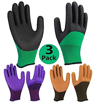 Garden Work Gloves 3 Pairs, Grip Coating Breathable Comfortable for Gardening Mechanic Construction Auto Multi-Purpose Use - 3 Pack