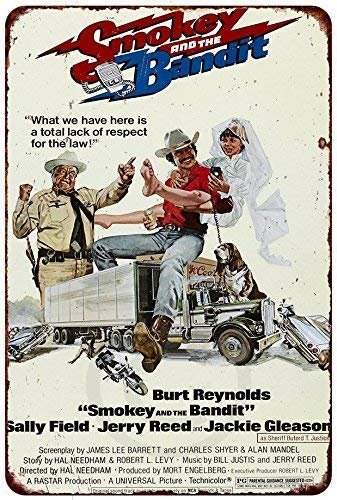 Isaric Tin Sign Smokey and The Bandit Movie Poster Burt Reynolds Reproduction Metal Sign 8 x 12