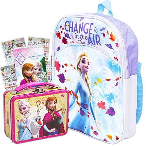 Disney Frozen Elsa Backpack for Girls Set ~ Deluxe 11' Frozen Mini Backpack with Tin Snack Box Tote and Stickers (Frozen 2 Elsa School Supplies Bundle)