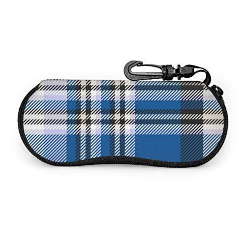 Estuche para gafas Patrón a cuadros Azul Negro Beige Blanco Soporte protector para gafas y gafas de sol - Para niños y adultos, hombres y mujeres