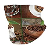 Q&SZ Sweatshirt Outdoor Headband Brown Collage of Coffee Beans In Cups and Bags with Green Leaves On Wooden Table Photo Brown Green Scarf Neck Gaiter Face Bandana Scarf Head Scarf