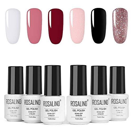 ROSALIND Gel Nagellack Weiß Schwarz 6St 7ml, UV LED Gel Nagellack Farbset Nail Art Starter Kit