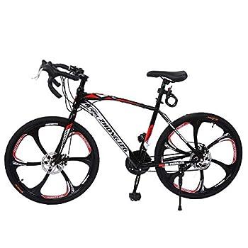26 inch Mountain Bike Carbon Steel Bicycle 21 Speed Bicycle Adult Mountain Bike Student Outdoors Unisex Bike Full Suspension MTB Bike