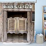 AMBZEK Rustikaler Scheunentür-Duschvorhang, 152 x 183 cm, braun, Vintage-Stil, Landhausstil, Bauernhof, Holz, altes Tor, Cowboy, Kunstwerk, Stoff, Badezimmerdekor-Set mit 12 Haken