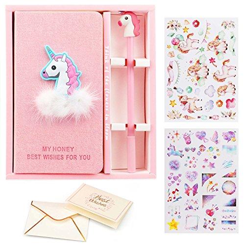 VAMEI Diario de Unicornio, Cuaderno de Diario de Unicornios Lindos Cuaderno y Conjunto de Lápices de Gel, Plano Portátil Manual de color Rosa Ordinario, Regalo de Cumpleaños Linda Niña