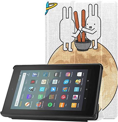 Funda Kindle Fire 2019 Funda con adornos para niños encantadores Funda de conejo pequeño Fire 7 Tablet Amazon para Fire 7 Tablet(novena generación,versión 2019)Ligero con reposo automático/activación