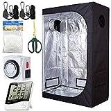 PrimeGarden 48''x36''x72'' 2-in-1 Grow Tent Kit Indoor Plant Grow Tent Room + 24 Hour Timer + 60mm Bonsai Straight Scissors + Digital Hygrometer Thermometer + Trellis Nets +1 Pair of Rope Hangers