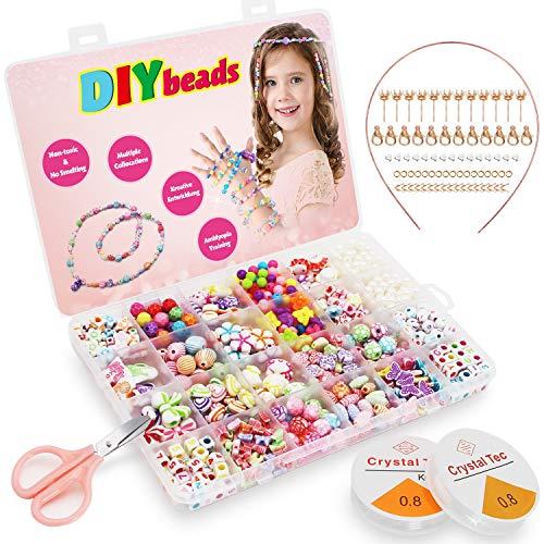 Perlen zum ainfädeln Kinder DIY Freundschafts Armbänder Halsketten Ketten basteln, um Ihr eigenes Schmuck Schnurset zu machen, Geburtstagsgeschenk für Mädchen Kinder, 24 Farben (Perlen zum Einfädeln)