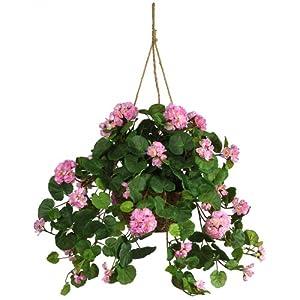 Nearly Natural Geranium Silk Hanging Basket