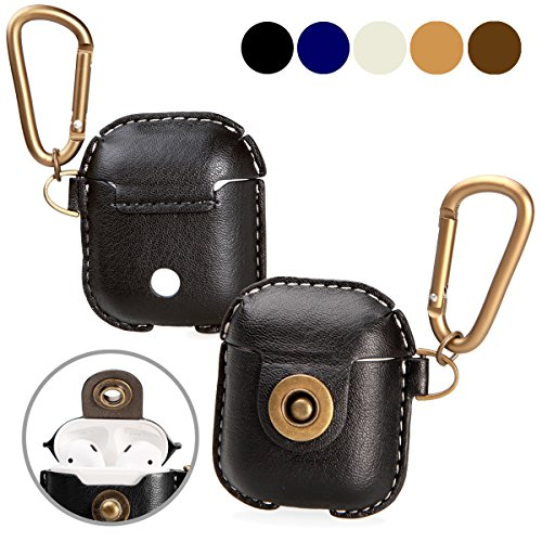 A+case case Leather Cover Compatible for air pods Accessories with Hook Keychain & Earbuds Strap Shock Resistant Full Protective case for Wireless Earbuds Charging case (Black)