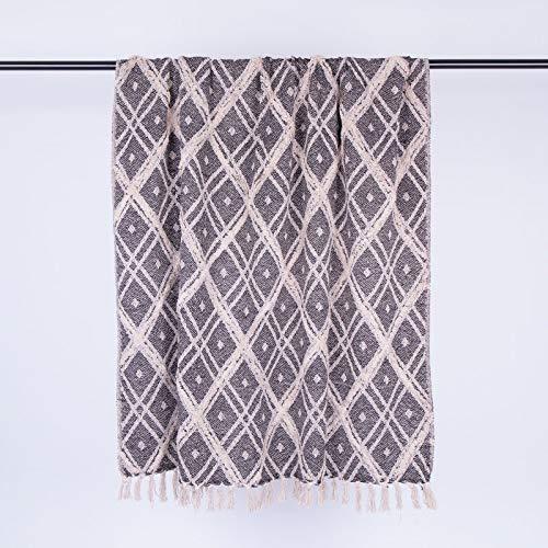 Homevibes Ethnische Boho-Decke mit Fransen, 100 % Baumwolle, Mehrzweck-Decke, Decke mit Fransen, Maße 125 x 150 cm