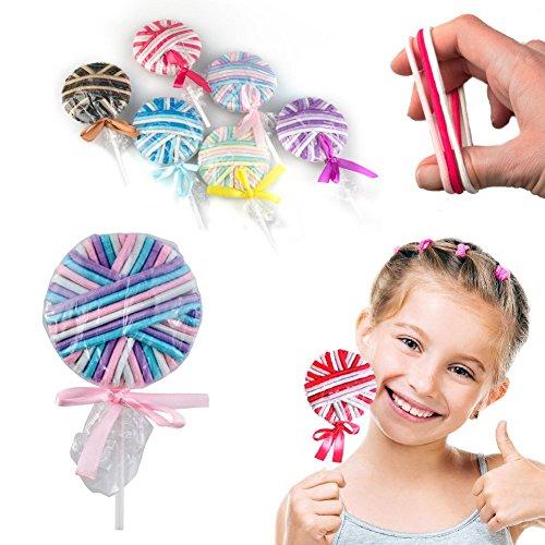 Sucette multicolore avec 24 élastiques pour cheveux - Modèle aléatoire - Lollipop Rubber Hair Bands
