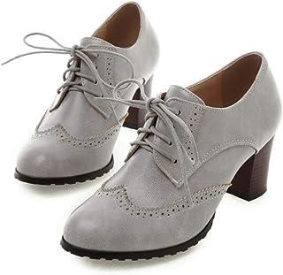 Mid Heel Pumps Womens PU Lace Up Shoes, Cut Out Retro Dress Pumps Booties Party Wedding Plaform Dress Pump Shoes