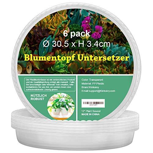 kinkaivy 6 Pack Blumentopf Untersetzer Rund, 30.5cm Blumentopfuntersetzer, Indoor-haltbare Transparente Pflanzen Untersetzer, aus Dickem und Starkem Kunststoff, Ø 30.5 x H 3.4cm