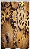 ABAKUHAUS Steampunk Schmaler Duschvorhang, Close Up Ausrüstung, Badezimmer Deko Set aus Stoff mit Haken, 120 x 180 cm, Sandbraun