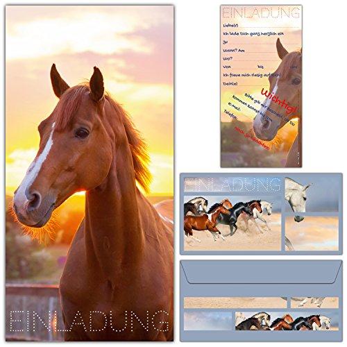 12-er Set Einladungskarten Pferd mit Umschlägen - Geburtstags-Einladungen für Mädchen Jungen Kinder-Geburtstag Party & Erwachsene - von BREITENWERK®