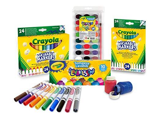 CRAYOLA- Set Scorta Convenienza, per disegnare e colorare, Colori Super Lavabili, Multicolore, 7457