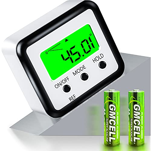 FOLAI Medidor de ángulos digital LCD con pantalla LCD, inclinación, inclinómetro, resistente al agua, base magnética, nivel de burbuja (batería incluida)
