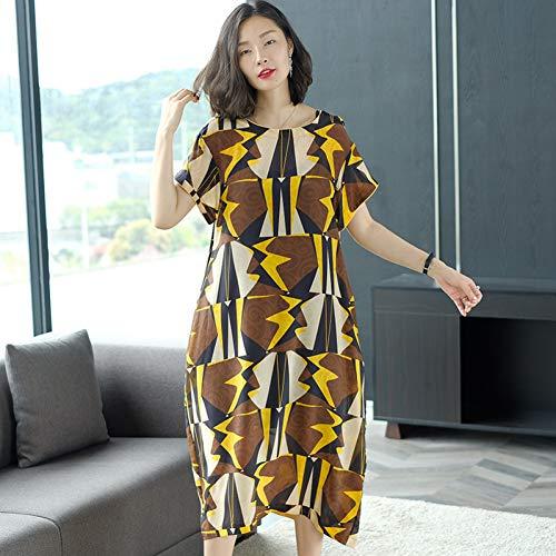 BINGQZ Cocktailjurken Zijde jurk vrouwelijke zomerjurk losse grote maat rechte temperament zijden rok