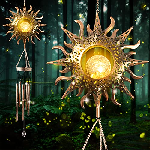 Greenke Gifts for Mom Grandma Friends, Mother's Day Birthday Gift Solar Wind Chime for Outside, Hanging Large Waterproof Windchimes Outdoor for Home Yard Patio Garden Decoration