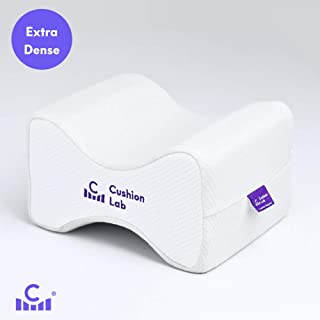 Cushion Lab Extra Support Orthopedic Knee Pillow for Side Sleepers – Healthy Alignment Leg Pillow for Sleeping – Hip, Pregnancy, Sciatica, Back Pain Relief - Memory Foam Contour Wedge – Large Size