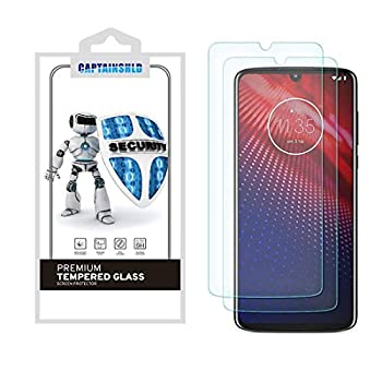 2 Pack  CaptainShld for Motorola Moto Z4 Screen Protector Tempered Glass Anti Scratch Bubble Free