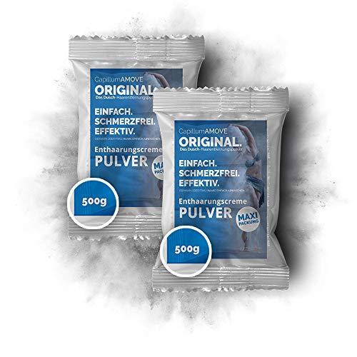 2x500g Enthaarungscreme als Pulver - Capillum AMOVE Original ohne synth. Zusatzstoffe mit Mineralien für sanfte Anwendung ohne Schmerzen