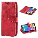 Mulbess Handyhülle für Xiaomi Mi A2 Lite Hülle Leder, Xiaomi Mi A2 Lite Handy Hüllen, Vintage Flip Handytasche Schutzhülle für Xiaomi Mi A2 Lite Hülle, Wein Rot