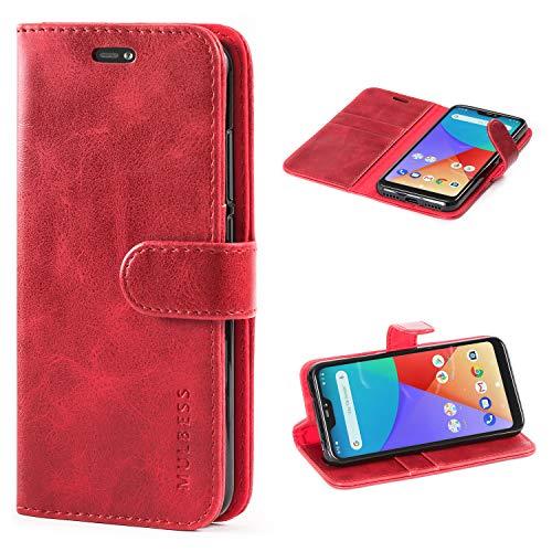 Mulbess Funda Xiaomi Mi A2 Lite [Libro Caso Cubierta] [Vintage de Billetera Cuero de la PU] con Tapa Magnética Carcasa para Xiaomi Mi A2 Lite Case, Vino Rojo
