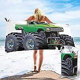 Asciugamano da viaggio ad asciugatura rapida da spiaggia, camioncino gigante per mostro con pneumatici di grandi dimensioni e asciugamano da bagno con ruota più grande della sospensione 160X80 cm