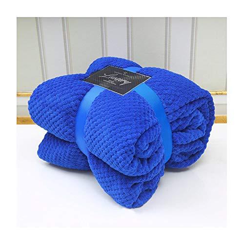 DL Popcorn Überwurfdecke für Doppelbett, King-Size-Bett, 2-Sitzer-Sofa-Überwurf, weich, warm, gemütlich, große Popcorn-Decke, luxuriöse Überwürfe, Popcorn - Electric Blue, King - (200 x 240 cm)