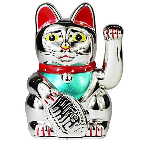 "UOOOM Glückskatze Winkekatze Glücksbringer Chinesische Glücks Katze Fengshui Deko Figur Dekoartikel Höhe 5"" / 13cm (Silber)"