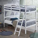 Costzon Twin Over Twin Bunk Beds, Convertible Into Two Individual Solid Rubberwood Beds, Children Twin Sleeping Bedroom Furniture W/Ladder and Safety Rail for Kids Boys & Girl (White)