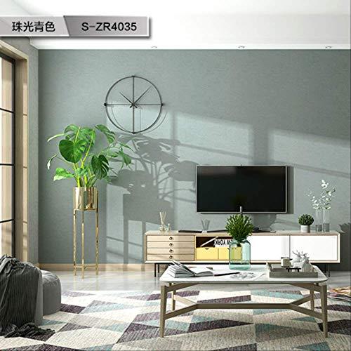 Papel pintado liso de arroz, estilo nórdico, simple, moderno, para salón, dormitorio, no tejido, S-ZR4035, color cian, 6 planos, solo para venta de papel pintado
