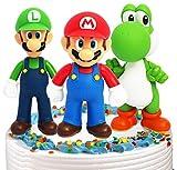 Super Mario Mini Juego de Figuras Decoración para Tartas Suministros para Fiestas Figuras para Magdalenas Suministros para Decoración de Tartas, 3 piezas